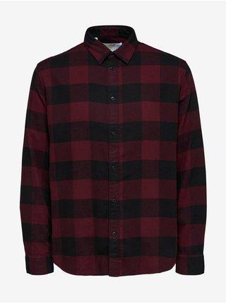 Černo-vínová pánská kostkovaná košile Selected Homme Regbox