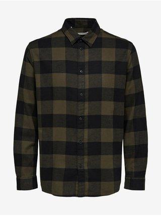 Černo-zelená pánská kostkovaná košile Selected Homme Regbox