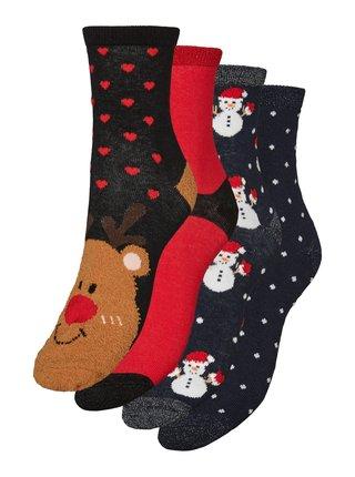Sada štyroch párov vianočných ponožiek v tmavomodrej a červenej farbe VERO MODA Hoho