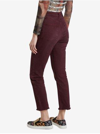 Vínové dámské zkrácené straight fit kalhoty Desigual Tiber