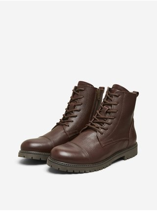 Tmavě hnědé pánské kotníkové kožené boty Selected Homme Thomas