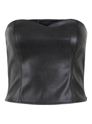 Černý  koženkový top Pieces Karmen