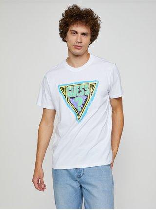 Bílé pánské tričko s potiskem Guess Brushed Triangle