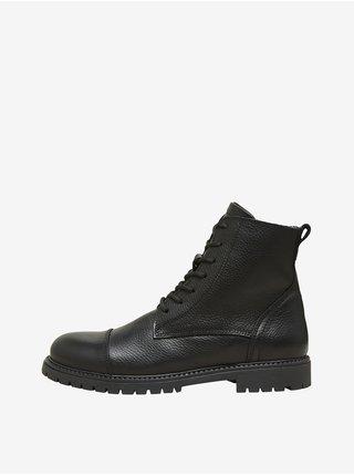 Černé pánské kotníkové kožené boty Selected Homme Thomas