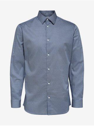 Modrá pánská vzorovaná košile Selected Homme Slim formal