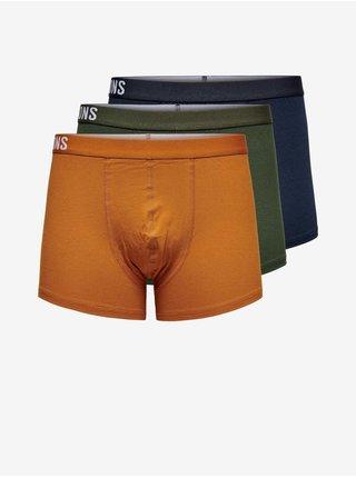 Sada troch pánskych boxeriek v modrej, kaki a oranžovej farbe ONLY & SONS Fitz