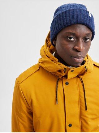 Tmavomodrá pánska rebrovaná vlnená čiapka Selected Homme Merino