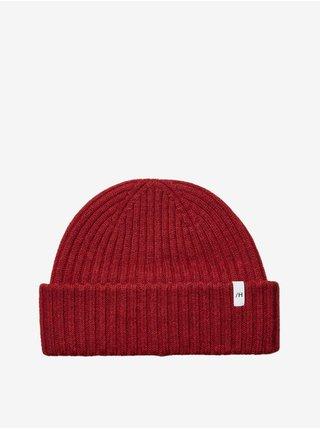 Červená pánska rebrovaná vlnená čiapka Selected Homme Merino