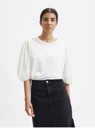 Bílé dámské volné tričko s krátkými balonovými rukávy Selected Femme Liv