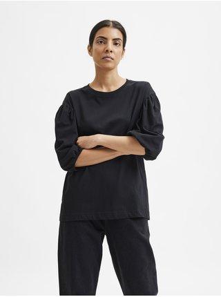 Černé dámské volné tričko s krátkými balonovými rukávy Selected Femme Liv