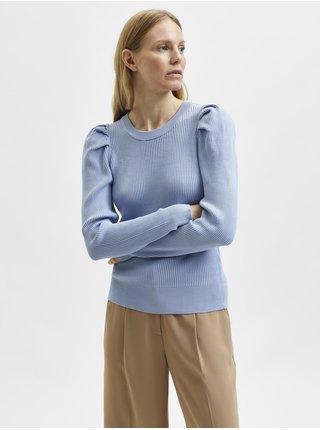 Svetlomodrý dámsky rebrovaný sveter s nariasenými rukávmi Selected Femme Isla