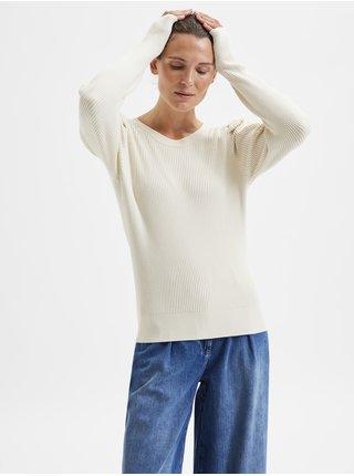 Krémový dámsky rebrovaný sveter s nariasenými rukávmi Selected Femme Isla