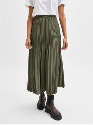 Kaki dámska dlhá plisovaná sukňa Selected Femme Alexandra