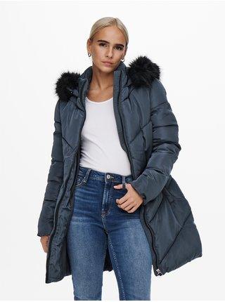 Tmavě modrý prošívaný kabát ONLY  Mynte