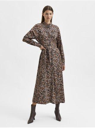 Hnědé dámské dlouhé vzorované košilové šaty Selected Femme Ronja
