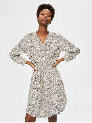Krémové dámské puntíkované šaty se zavazováním Selected Femme Damina