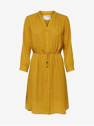 Žluté dámské puntíkované šaty se zavazováním Selected Femme Damina