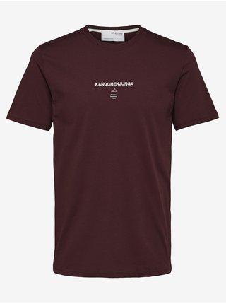 Vínové pánské tričko Selected Homme Kody
