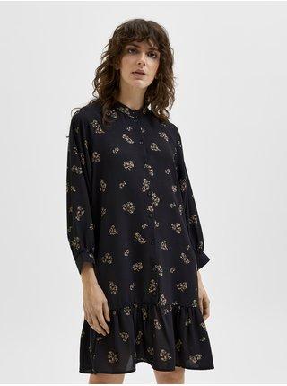 Černé dámské květované košilové šaty s balonovými rukávy Selected Femme Margunn