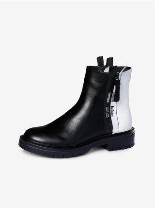 Bílo-černé dámské kotníkové boty Lee Cooper