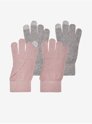 Rukavice pre ženy ONLY - sivá, ružová