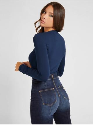 Tričká s dlhým rukávom pre ženy Guess - tmavomodrá