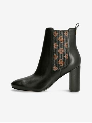 Hnědo-černé dámské kožené kotníkové boty Guess