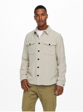 Béžová pánská košile s kapsami ONLY & SONS Milo