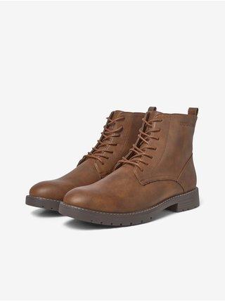 Hnědé pánské kotníkové boty Jack & Jones Jaxton