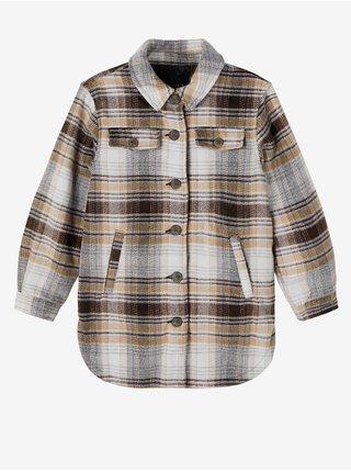 Béžovo-černá holčičí kostkovaná košilová bunda name it Maryn