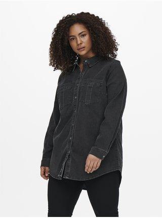 Tmavě šedá dámská džínová košile ONLY CARMAKOMA Mikka