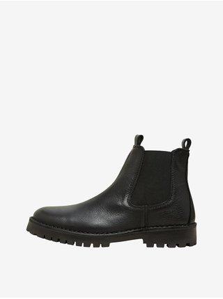 Černé pánské kotníkové kožené boty Selected Homme Ricky