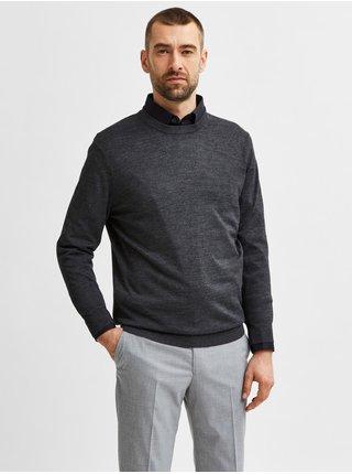 Tmavě šedý pánský vlněný svetr Selected Homme Town