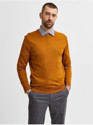 Hořčicový pánský vlněný svetr Selected Homme Town