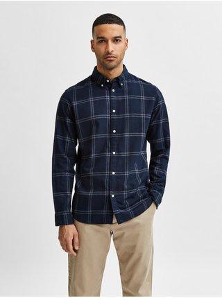 Tmavě modrá pánská kostkovaná flanelová košile Selected Homme Slim Flannel