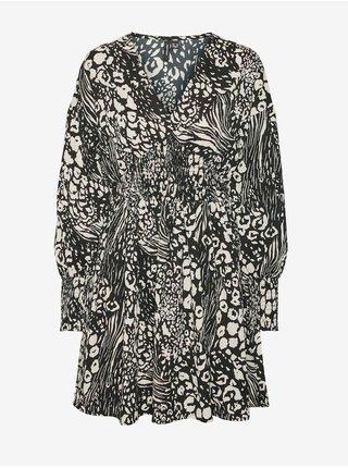 Krémovo-černé dámské vzorované šaty s balonovými rukávy VERO MODA Caia