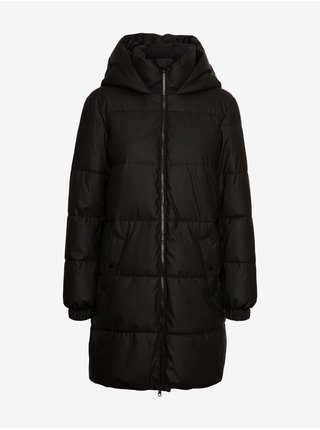 Černý dámský prošívaný kabát s povrchovou úpravou VERO MODA Greta