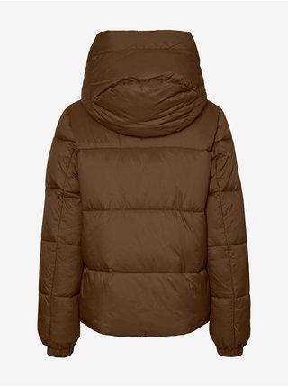 Hnědá dámská prošívaná zimní bunda s kapucí VERO MODA Uppsala