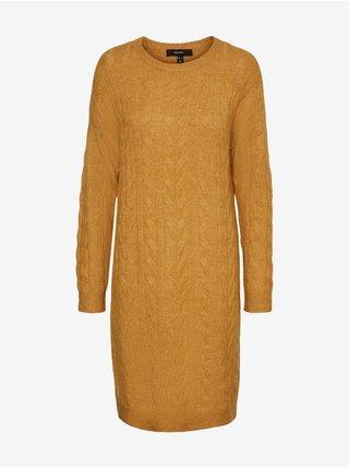 Hořčicové dámské svetrové šaty s copánky VERO MODA Simone