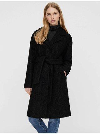 Černý dámský zimní kabát se zavazováním VERO MODA Twirlisia