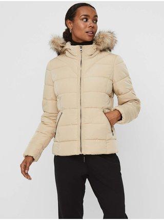 Béžová dámská prošívaná zimní bunda s kapucí a umělým kožíškem VERO MODA Mollie