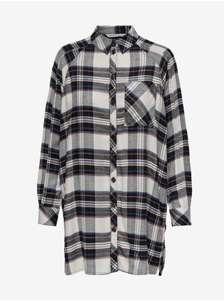Černo-bílá dámská kostkovaná prodloužená košile ONLY Misty