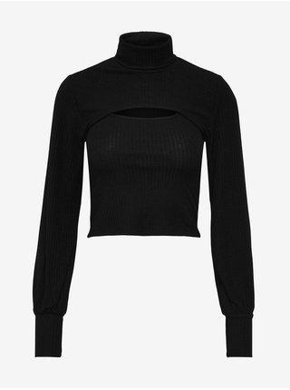 Černé dámské žebrované cropped tričko s průstřihem ONLY Nella