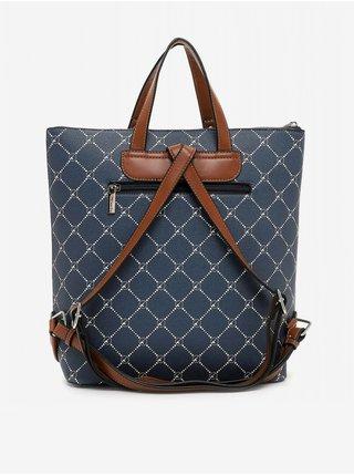 Tmavě modrá kostkovaná kabelka/batoh Tamaris