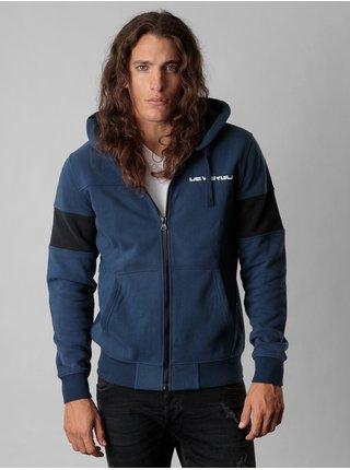Modrá pánská mikina na zip s kapucí Devergo