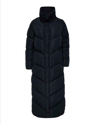Černý dámský dlouhý prošívaný zimní kabát s límcem ONLY Alina