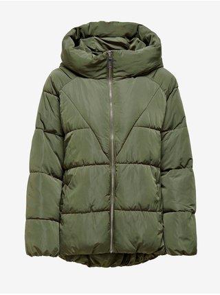 Zelená dámská prošívaná zimní bunda s kapucí ONLY Alina