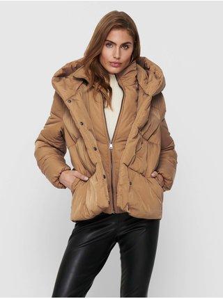Světle hnědá dámská prošívaná zimní bunda s kapucí ONLY Sydney