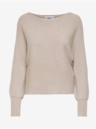 Béžový dámský žebrovaný svetr s netopýřími rukávy ONLY Adaline