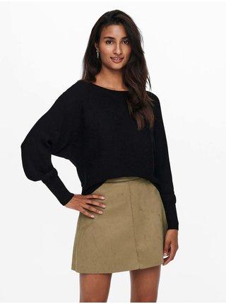 Černý dámský žebrovaný svetr s netopýřími rukávy ONLY Adaline